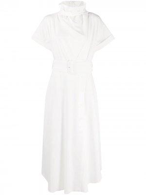 Платье с высоким воротником и поясом CAMILLA AND MARC. Цвет: белый