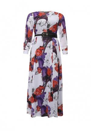 Платье Just Joan BELTED MAXI DRESS IN ORCHID PRINT. Цвет: разноцветный