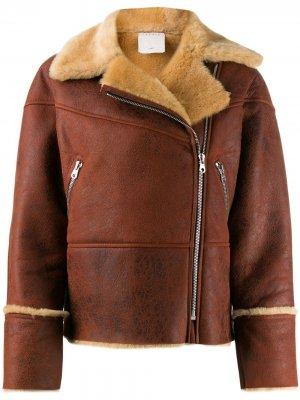 Куртка-бомбер с меховой оторочкой Sandro Paris. Цвет: коричневый