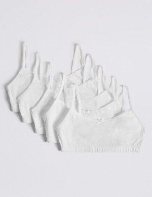 Хлопковый кроп-топ для девочки (5 шт) Marks & Spencer. Цвет: белый