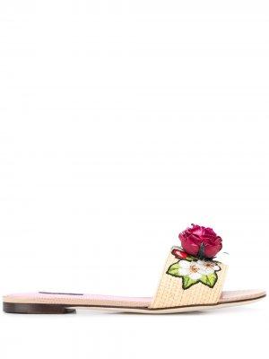 Сандалии Bianca с цветочной аппликацией Dolce & Gabbana. Цвет: нейтральные цвета