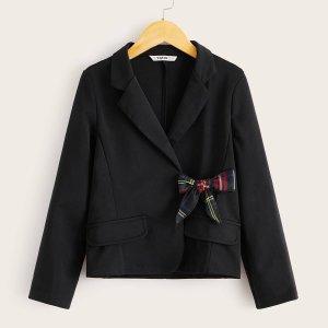 Пиджак с клетчатым узлом и воротником-лацканом для девочек SHEIN. Цвет: чёрный