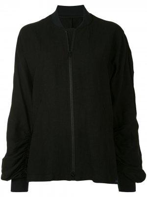 Куртка-бомбер со сборками Yohji Yamamoto. Цвет: черный