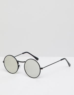 Круглые солнцезащитные очки с разноцветными стеклами inspired Reclaimed Vintage. Цвет: черный