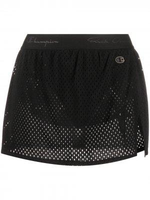 Сетчатая юбка с логотипом Rick Owens X Champion. Цвет: черный