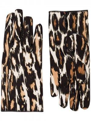 Перчатки с леопардовым принтом Raf Simons. Цвет: коричневый