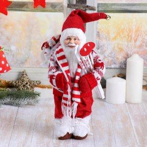 Дед мороз в вязаном костюме с лыжами и мешком 30 см Зимнее волшебство