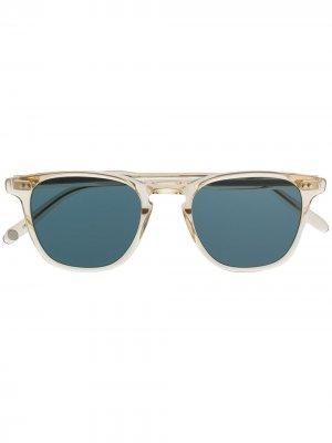 Солнцезащитные очки-авиаторы в квадратной оправе Garrett Leight. Цвет: нейтральные цвета