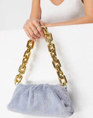 Голубая сумка через плечо из искусственного меха с цепочкой Ego-Голубой EGO