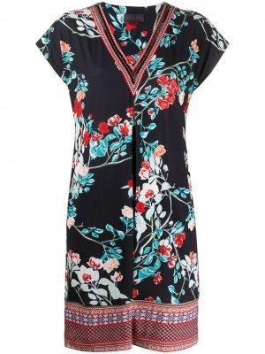 Платье мини с цветочным принтом Hale Bob. Цвет: черный