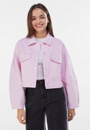 Куртка джинсовая Bershka. Цвет: розовый