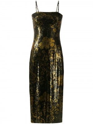 Платье-комбинация с эффектом металлик Versace Jeans Couture. Цвет: золотистый