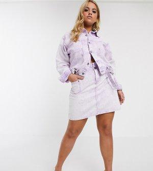 Джинсовая мини-юбка с эффектом кислотной стирки от комплекта -Розовый Liquor N Poker Plus