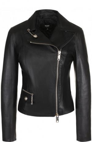 Кожаная куртка с косой молнией Versus Versace. Цвет: черный