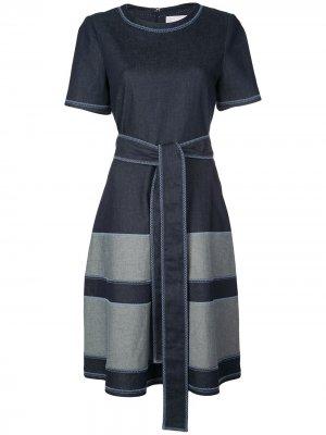 Джинсовое платье-трапеция с поясом Carolina Herrera. Цвет: синий