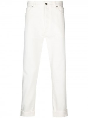 Прямые джинсы с завышенной талией Balmain. Цвет: белый