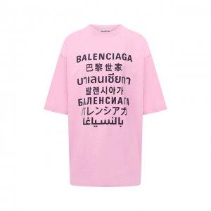Футболка Balenciaga. Цвет: розовый