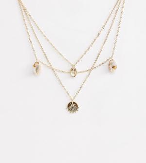 Ожерелье с ракушками и монетами из полимера -Золотой Liars & Lovers