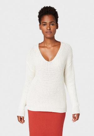 Пуловер Tom Tailor. Цвет: белый