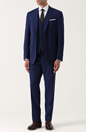 Шерстяной костюм с пиджаком на двух пуговицах Polo Ralph Lauren. Цвет: синий