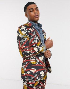 Однобортный пиджак зауженного кроя с принтом птиц -Черный цвет Topman