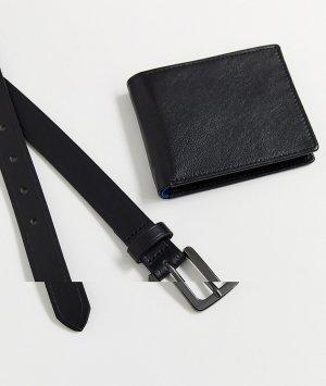 Набор из черного кожаного ремня и бумажника -Черный Topman
