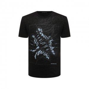 Льняная футболка Daniele Fiesoli. Цвет: чёрный