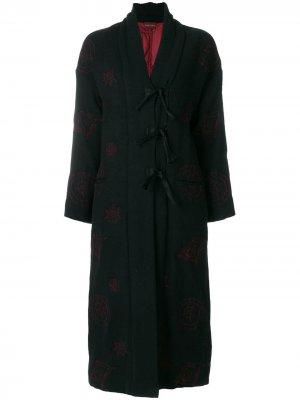 Пальто с вышивкой Romeo Gigli Pre-Owned. Цвет: черный