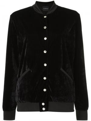 Бархатная куртка-бомбер Olympiah. Цвет: чёрный