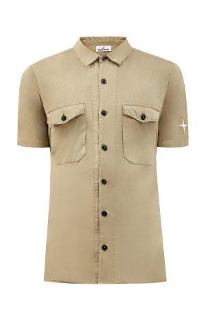 Хлопковая рубашка из легкого муслина с короткими рукавами STONE ISLAND. Цвет: бежевый