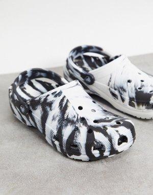 Классические кроксы черно-белого цвета с мраморным принтом -Многоцветный Crocs