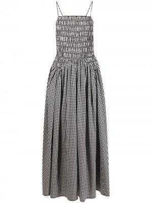 Платье миди Goose в клетку гингем Sandy Liang. Цвет: черный