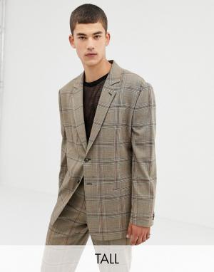 Oversize-пиджак в крупную клетку коричневого цвета COLLUSION Tall. Цвет: коричневый