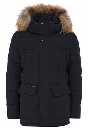 Утепленная куртка с отделкой мехом енота Clasna
