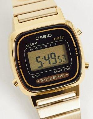Электронные часы с черным циферблатом и золотистым ремешком Mini LA670WEGA-1EF-Золотой Casio