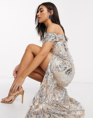 Серебристое платье макси с открытыми плечами и 3D-пайетками -Темно-синий Goddiva