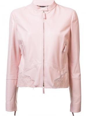 Кожаная куртка с кружевными вставками Roberto Cavalli. Цвет: розовый и фиолетовый