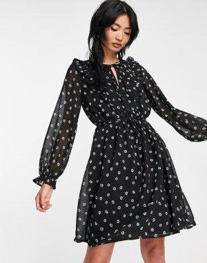 Черное платье мини с оборками спереди -Черный цвет French Connection