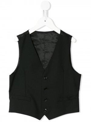 Жилет с V-образным вырезом Dolce & Gabbana Kids. Цвет: черный