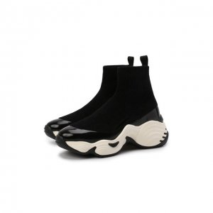 Текстильные кроссовки Emporio Armani. Цвет: чёрный