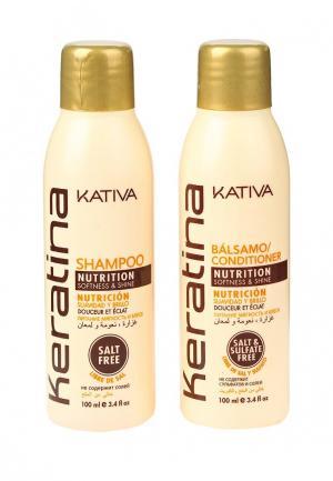 Набор для ухода за волосами Kativa KERATINA укрепляющий шампунь + конциционер с кератином всех типов 2 по 100 мл