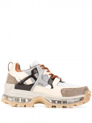 Кроссовки в стиле колор-блок Emporio Armani. Цвет: нейтральные цвета