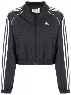 Укороченная куртка-бомбер Adicolor adidas. Цвет: черный
