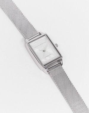 Часы с квадратным циферблатом пчелой и сетчатым браслетом OB16SD06-Серебристый Olivia Burton