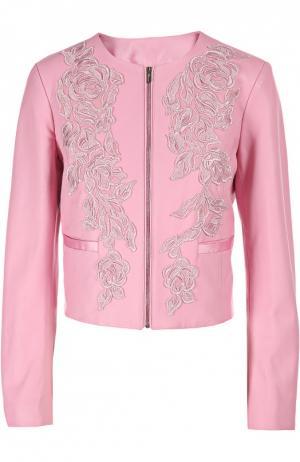 Кожаная куртка Blumarine. Цвет: розовый