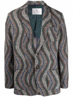 Пиджак с узором ETRO. Цвет: зеленый