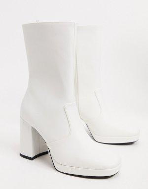 Белые полусапожки из искусственной кожи на блочном каблуке -Белый Monki
