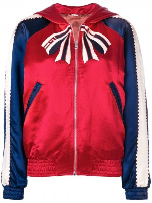 Куртка-бомбер в стиле колор-блок с вышивкой Gucci. Цвет: красный