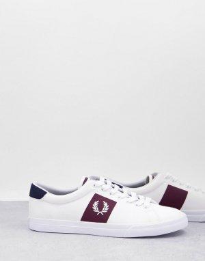 Белые саржевые кроссовки с логотипом на ярлычке Underspin-Белый Fred Perry