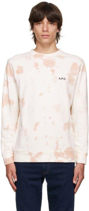 Off-White & Pink Tie-Dye Rick Sweatshirt A.P.C.. Цвет: faa pink